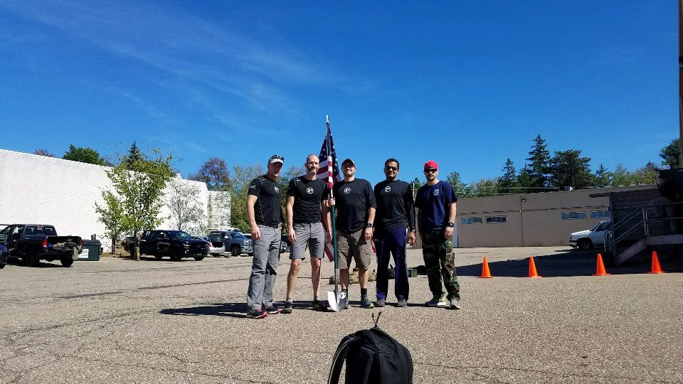 FroM Left to right: Stark, Cobra, Schizo, Monopoly, Me (tots) : Before the mogadishu mile at  molon labe crossfit