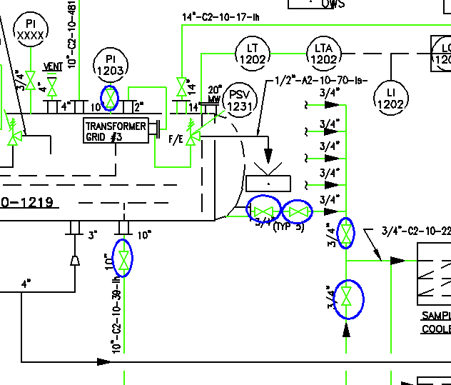 With Ei's FieldTech Toolbox™ and intelligent P&IDs, it is possible to identify individual valves which have not been inventoried (shown in blue circles above)