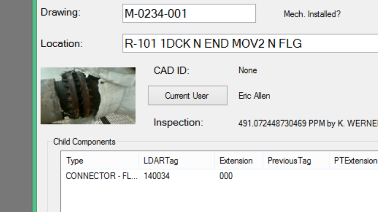 Ei's EiMOC™ software has the ability to take pictures of inventoried or leaking components.