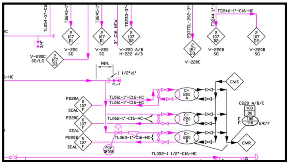 Example CAD Layer P&ID Highlight