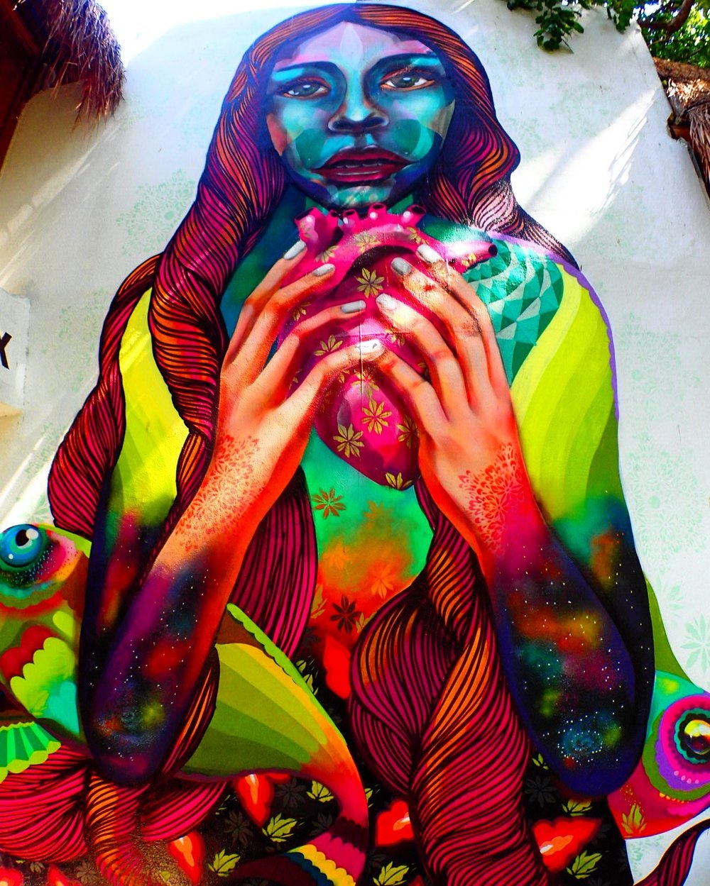 Beautiful mural at Hostal MX. Mexico is full of amazing street art!