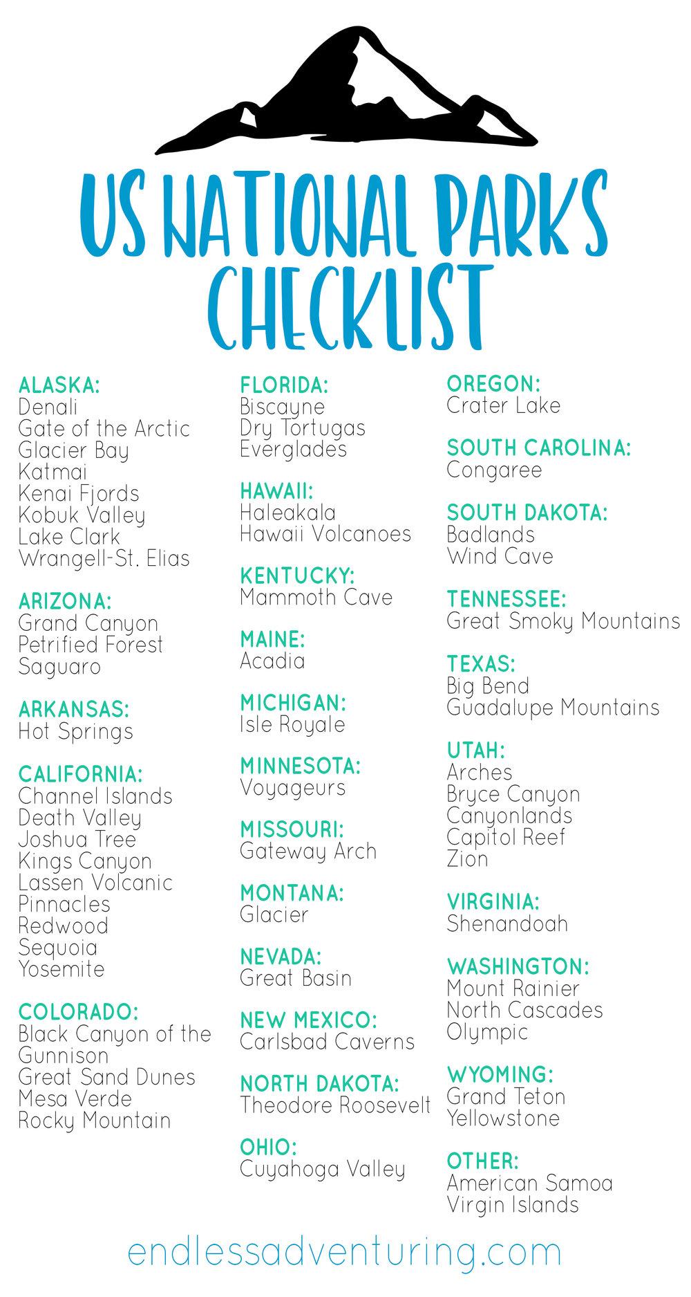 US National Park Checklist - US National Parks List, List of National Parks, American National Parks, National Parks, National Parks By State, National Parks by Location, National Parks List, All National Parks, Outdoor Recreation, Outdoor Travel, Outdoor Adventure, US Travel, National Parks Checklist
