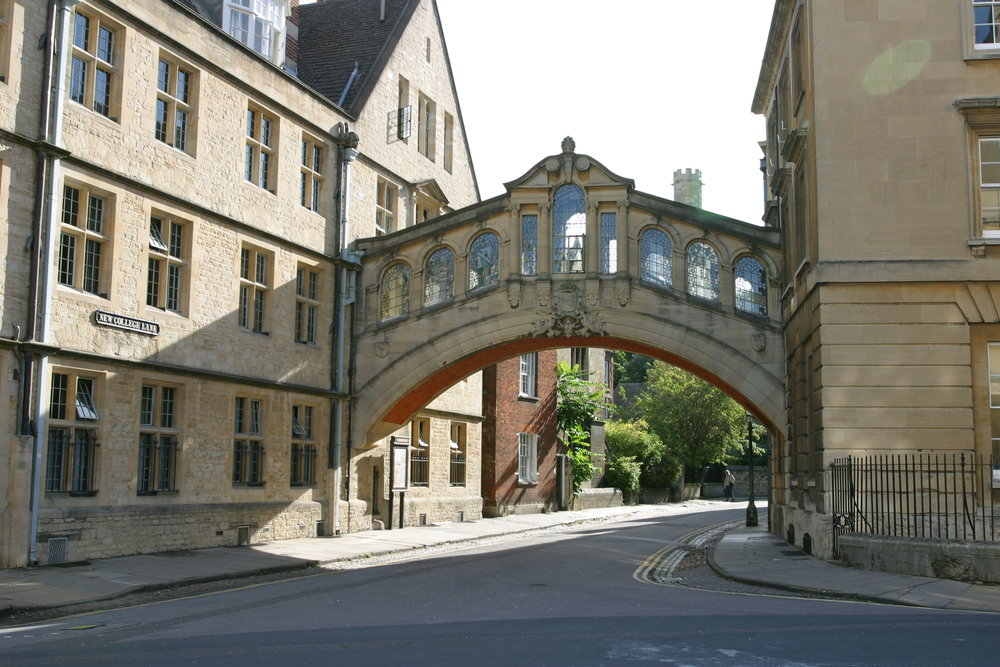 Hertford Bridge, aka The Bridge of Sighs  (Picture taken by Tom Murphy VII https://commons.wikimedia.org/wiki/File:Bridge_of_Sighs_(Oxford).jpg)