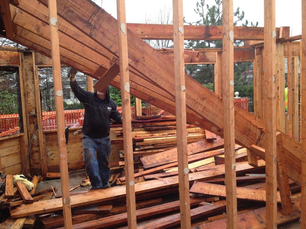 Habitat Crew Salvaging the Walls