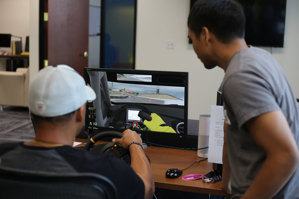 Driving simulator with hand controls at The CIL's Alameda office.