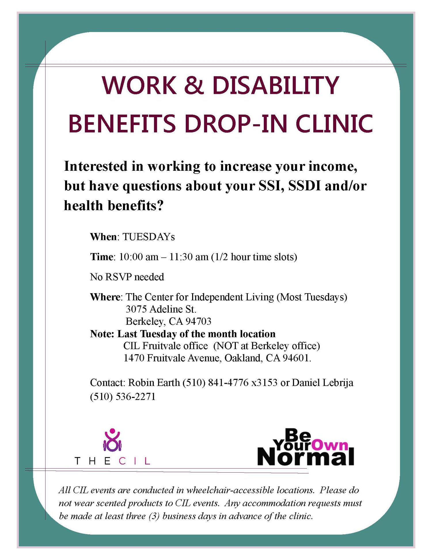 Work and Disability Benefits Drop-In Clinic — The CIL