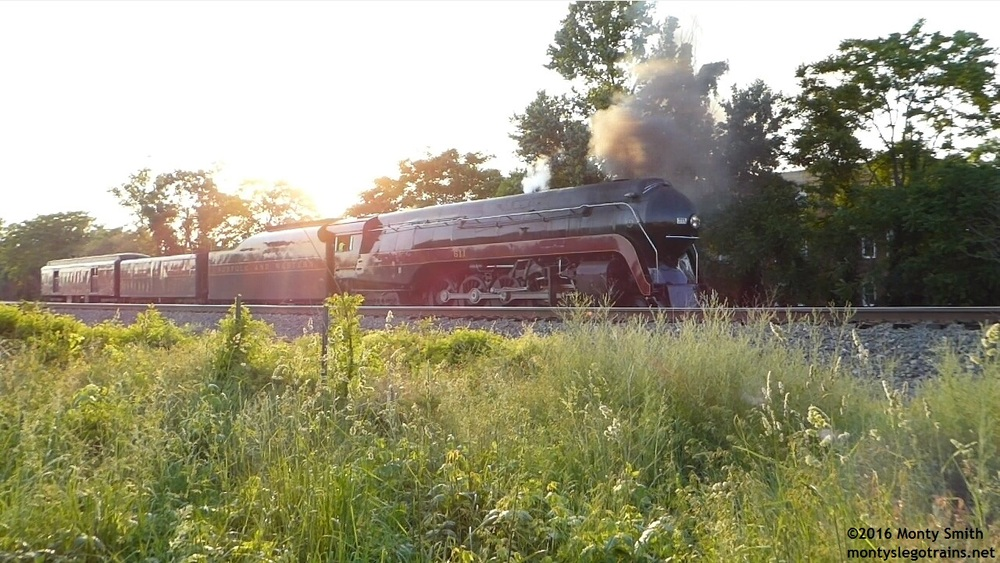 611 pauses in the sunset while shifting over to the Manassas Yard house track after uncoupling from the excursion coaches.