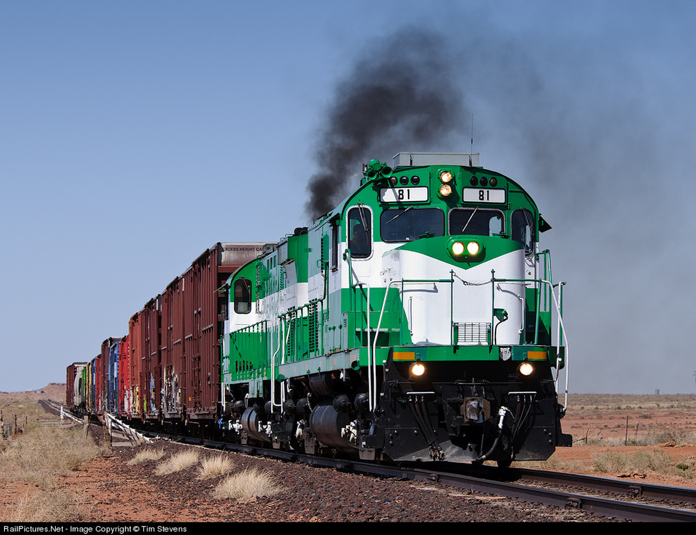 A green and white C420, the other Apache locomotive in my Lego Train collection, leads a C424 with a short mixed freight along the Apache Railway in 2010. Photo by Tim Stevens, click to access his post of the image at railpictures.net