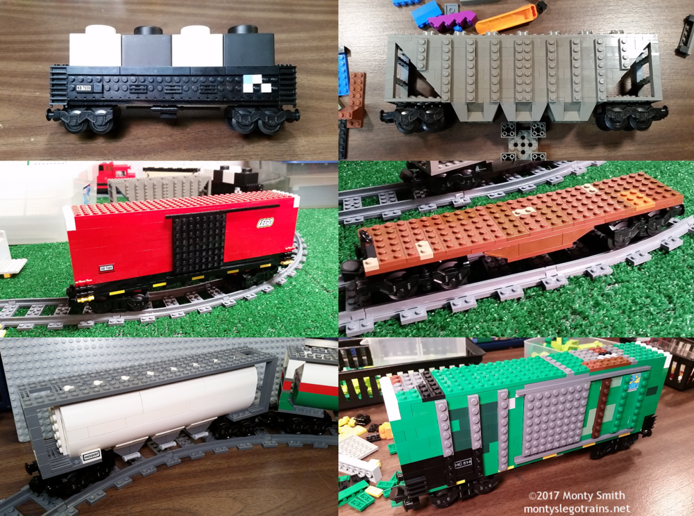 Six new freight cars to kick off 2017! Two boxcars, two covered hoppers, a gondola and a flatcar. More pictures of how they were each built are shown below!
