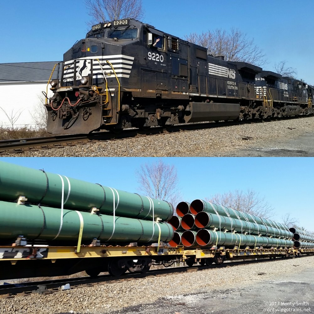 Norfolk Southern train 055 (High and Wide Pipe Extra) throttles up after a meet at Nokesville, Virginia.