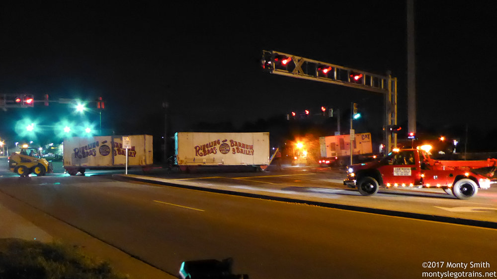 The shot I drove 3 hours to get: Ringling Brothers and Barnum & Bailey wagons being loaded onto the train, a process soon to be confined to the history books.