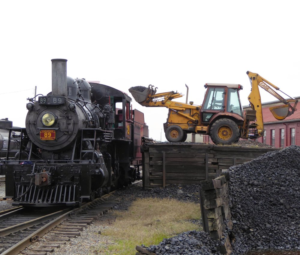 Strasburg 89 has its tender topped off for the days runs. The engine will use half a ton of coal on each 4.5 mile round trip from Strasburg to Paradise and return.