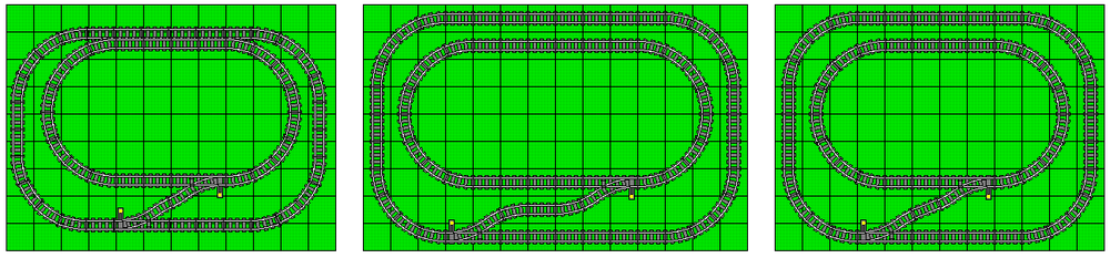The first example is what NOT to do: because the diverging routes of the switches are oblique without curved tracks to complement them, the outer loop of this layout is completely misaligned from the grid, and the outer track is too close to the inner track along the top of the plan. In the second and third examples, a properly aligned crossover (either with two curves and a straight, or one straight substituting for two back-to-back curves) means that BOTH loops align perfectly to the grid. Note that in each case, both switches are left-handed switches. Also note that a train traveling clockwise on the outer loop must reverse through the crossover to reach the inner loop, and vice-versa.