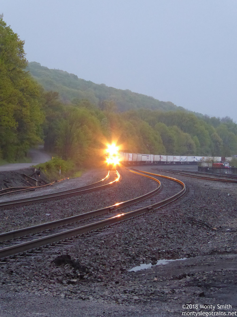 Last train before the light faded on a busy evening along Norfolk Southern's Pittsburgh Line.