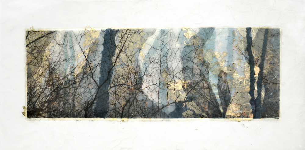 "Pond Series:  Deep Blue Pond   Hand made rice papers, wax, gold leaf. 19""x28"", 2015"