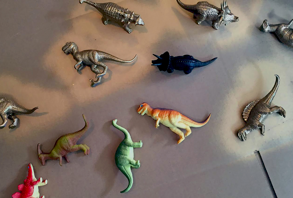Plastic Dinosaurs (Amazon), Gold Spray Paint (Home Depot)