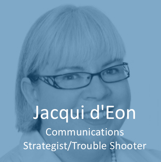 Jacqui is sought out for her ability to grasp the subtle and broader implications of a situation through listening and insightful probing. She gets to the core of issues and identifies the most impactful solutions, all with a sense of humour. Before starting JAd'E Communications, she was the Chief Communications Officer for Deloitte Canada for 10 years and enjoyed a 20-year career with P&G. She is a registered professional engineer, is accredited with the International Association of Business Communicators and was honoured with the designation, Master Communicator, in 2008.