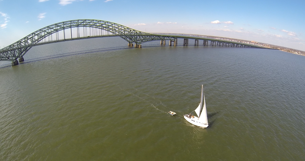 Ariel shot of the original Aleboat. Great South Bay, Long Island NY.