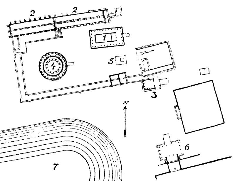 Epidaurum: 1. Asklepios temple. 2. Abaton. 3. Artemis temple. 4. Tholos. 5. Stora Altaret. 6. Propyleum. 7.Stadium