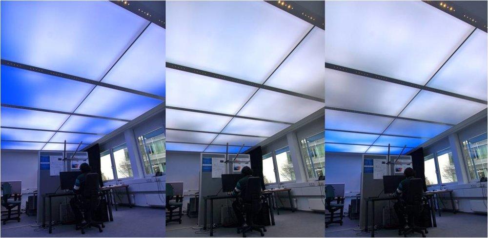 Sistema luminoso a moduli 50X50 ciascuno contenente 200 diodi e generante 16milioni di tonalità . Fraunhofer Institute, Stoccarda