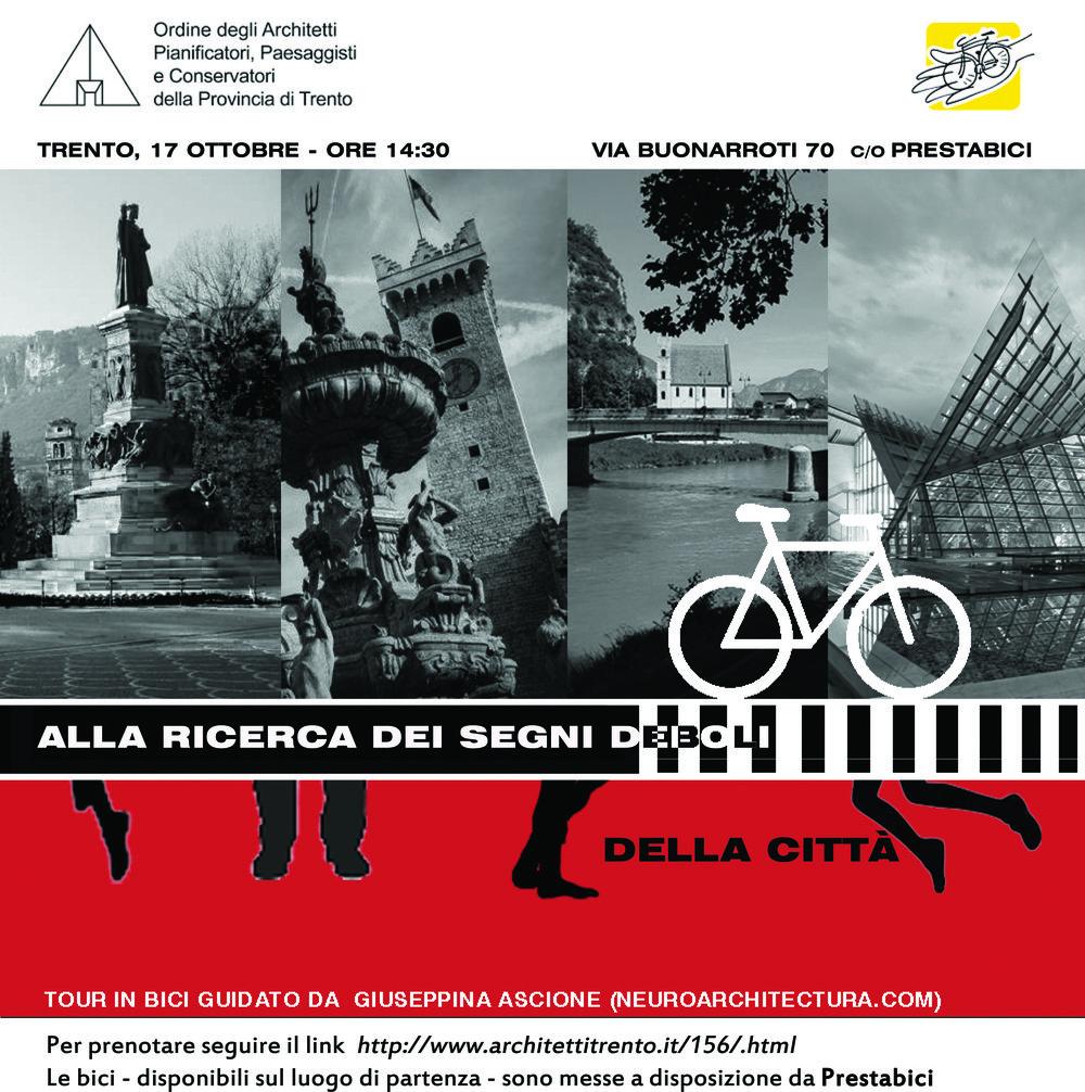 Locandina dell' itinerario in bici a Trento (immagine di giusi Ascione)