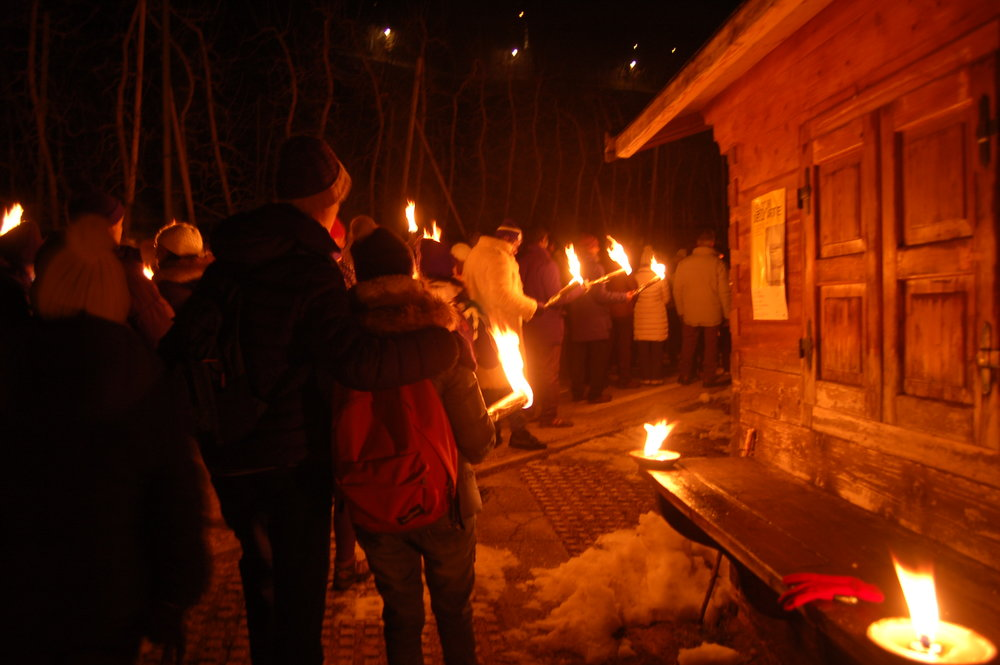 Procession with torchlights for Saint Romedio (Trentino- italy) - Photo by Nicola de pisapia
