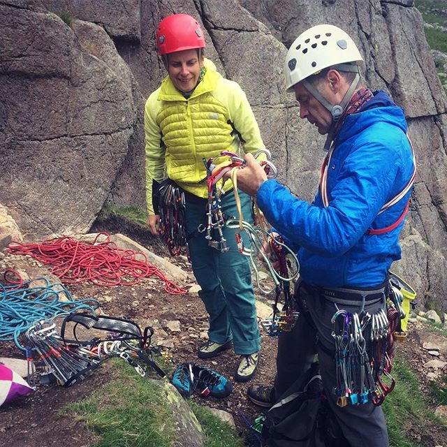 Geoff and Jean gearing up for the first climb of the day at Wrynose Pass in the Lake District. More nuts and cams than you can shake a stick at! #lakedistrict #wrynosepass #tradclimbing #outdoors #climbing #climbing_pictures_of_instagram #climbinglife #thamesvalleyclimbingclub #climbingclub #gearporn #tradgear #climbinggear #climbingrack #rockclimbing #adventure