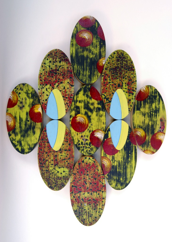 "Dark Matter  Acrylic, latex on wood  16"" x 13"""