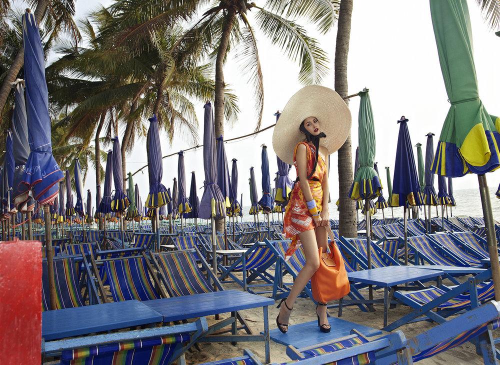 Actress : Marie Broenner @marie_broenner  Scarf, Shoes, Bag, Bracelets : HERMES  Location : Bang Saen Beach