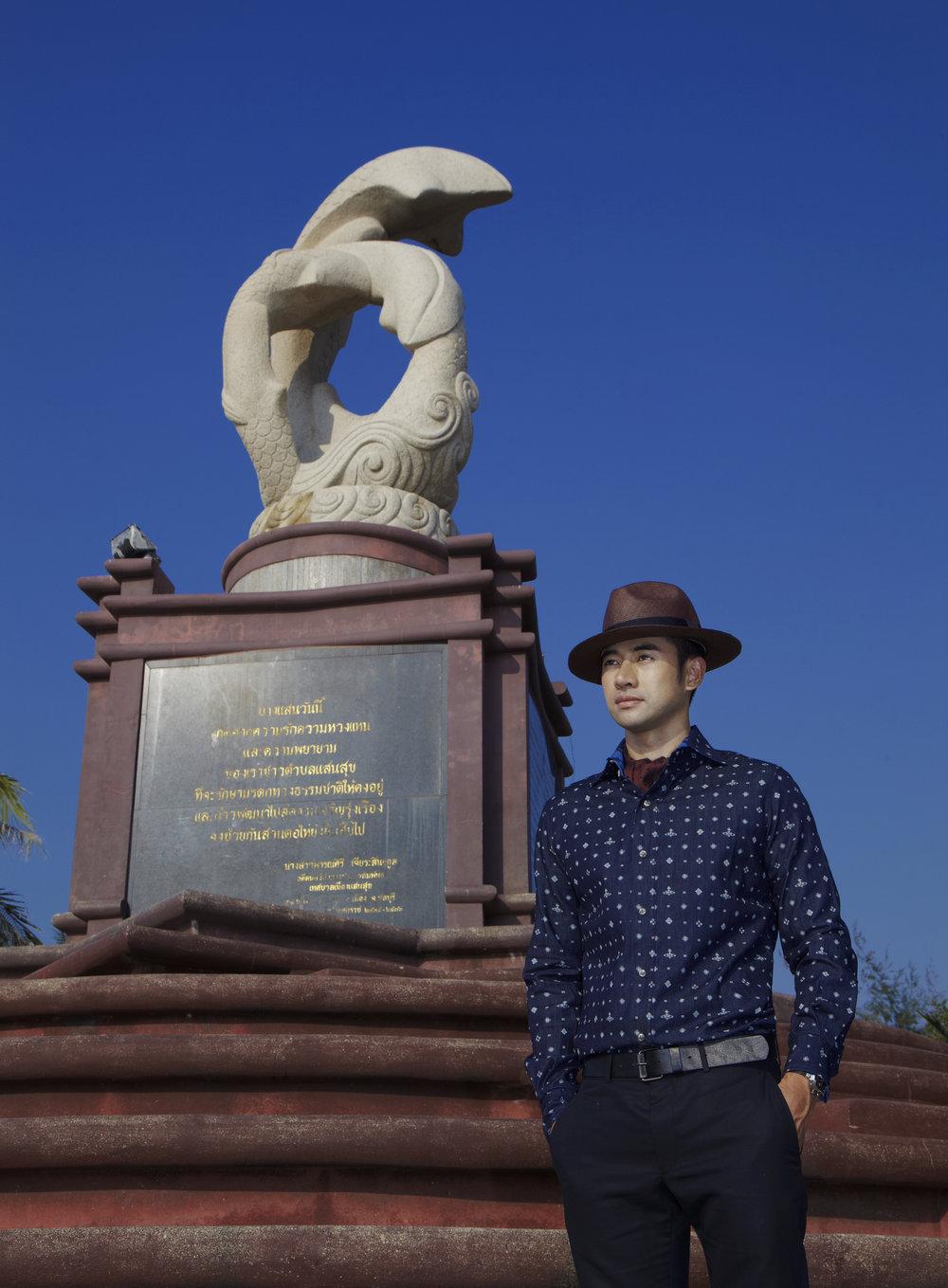 Honourary Model : Narongchai Kunpluem, The Mayor of Saensuk City Municipality  Shirt : Vivienne Westwood / Pants : HERMES  Location : อนุสาวรีย์ปลาโลมา
