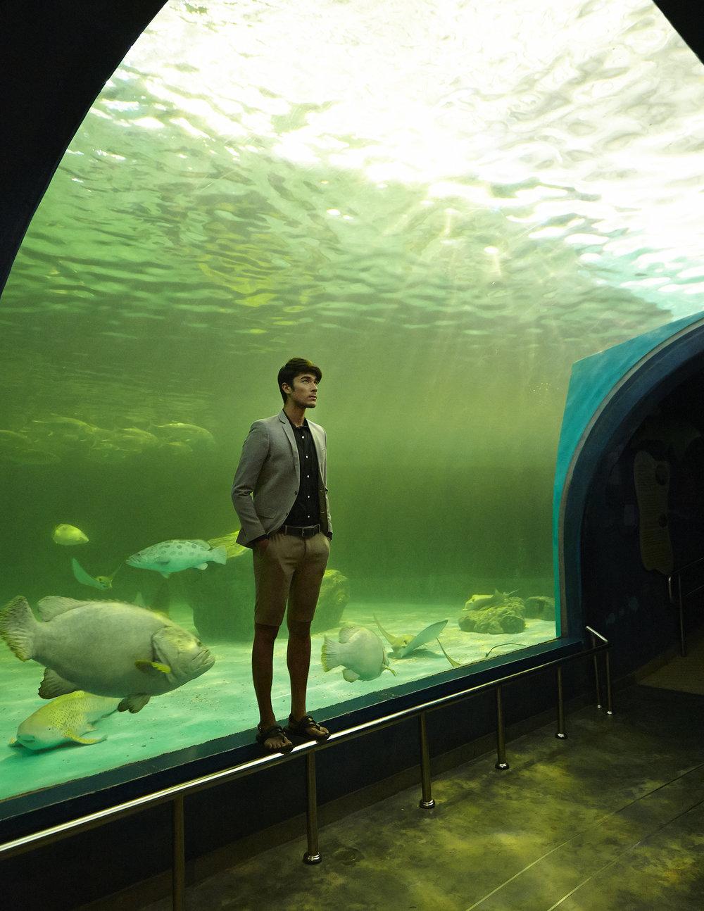 Model : Kenta Sakurai @kentasakura  Clothes : 4X4 MAN / Sandals : Mr. TANGO  พิพิธภัณฑ์สัตว์น้ำบางแสน สถาบันวิทยาศาสตร์ทางทะเล มหาวิทยาลัยบูรพา หรือที่เรียกกันว่า พิพิธภัณฑ์สัตว์น้ำบางแสน เปิดให้บริการมานานกว่า 30 ปี ตั้งอยู่บริเวณด้านหน้ามหาวิทยาลัยบูรพา บนเนื้อที่กว่า 30 ไร่ เป็นสถานที่ท่องเที่ยว ที่จัดแสดงเพื่อให้ความรู้เกี่ยวกับวิทยาศาสตร์ทางทะเล สิ่งมีชีวิตและความเป็นอยู่ของสัตว์ทะเลชนิดต่างๆที่อาศัยอยู่ในเขตน่านน้ำของไทย