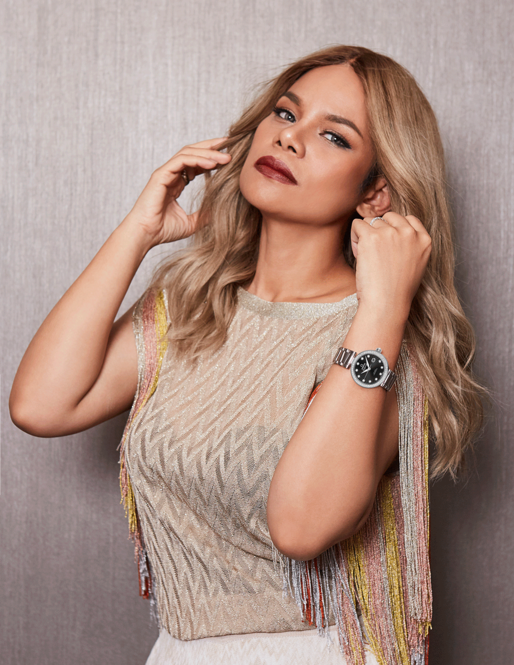 OPAL : clothes : MISSONI / watch : OMEGA Ladymatic 34 mm