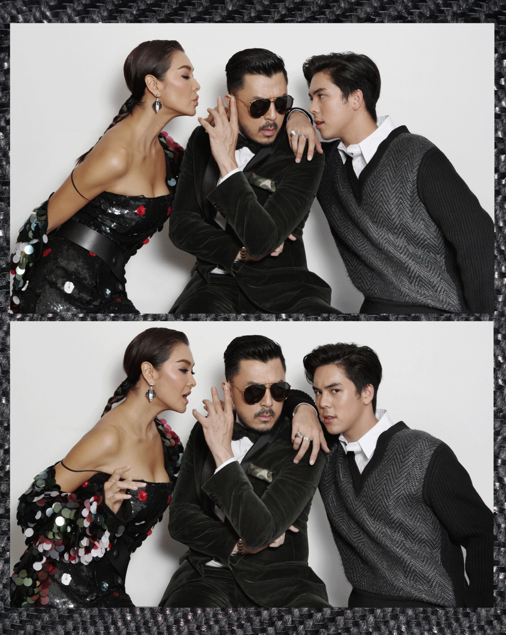 Mentor Lukkade Metinee in Emporio Armani / Mentor Moo in his own clothes  Mentor Peach Pachara in Louis Vuitton