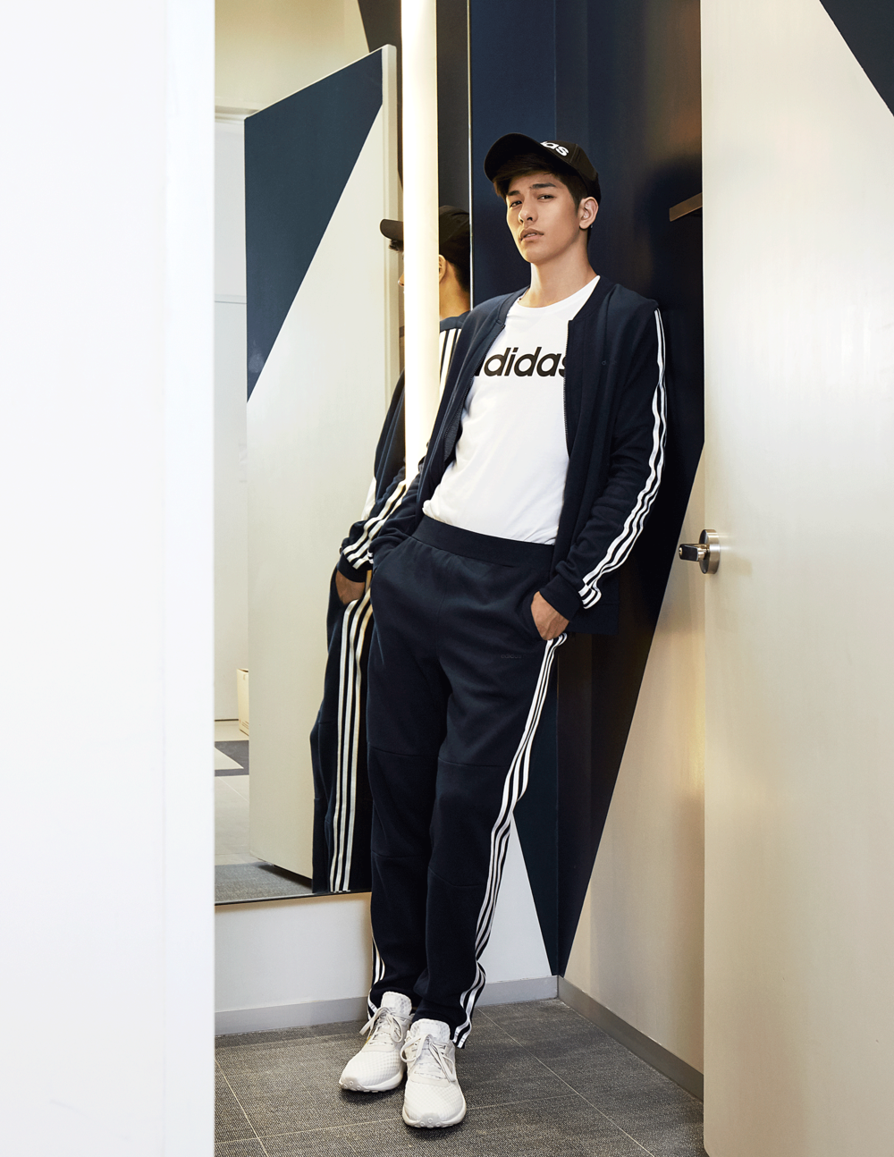 clothes, cap, sneakers, all by ADIDAS