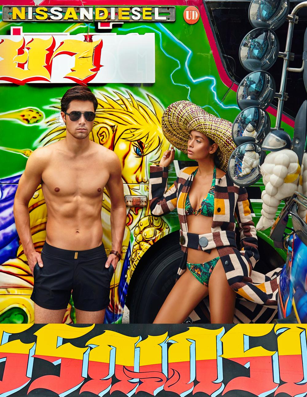 swimwear : Vilebrequin / coat : Salvatore Ferragamo / sunglasses : Dolce & Gabbana