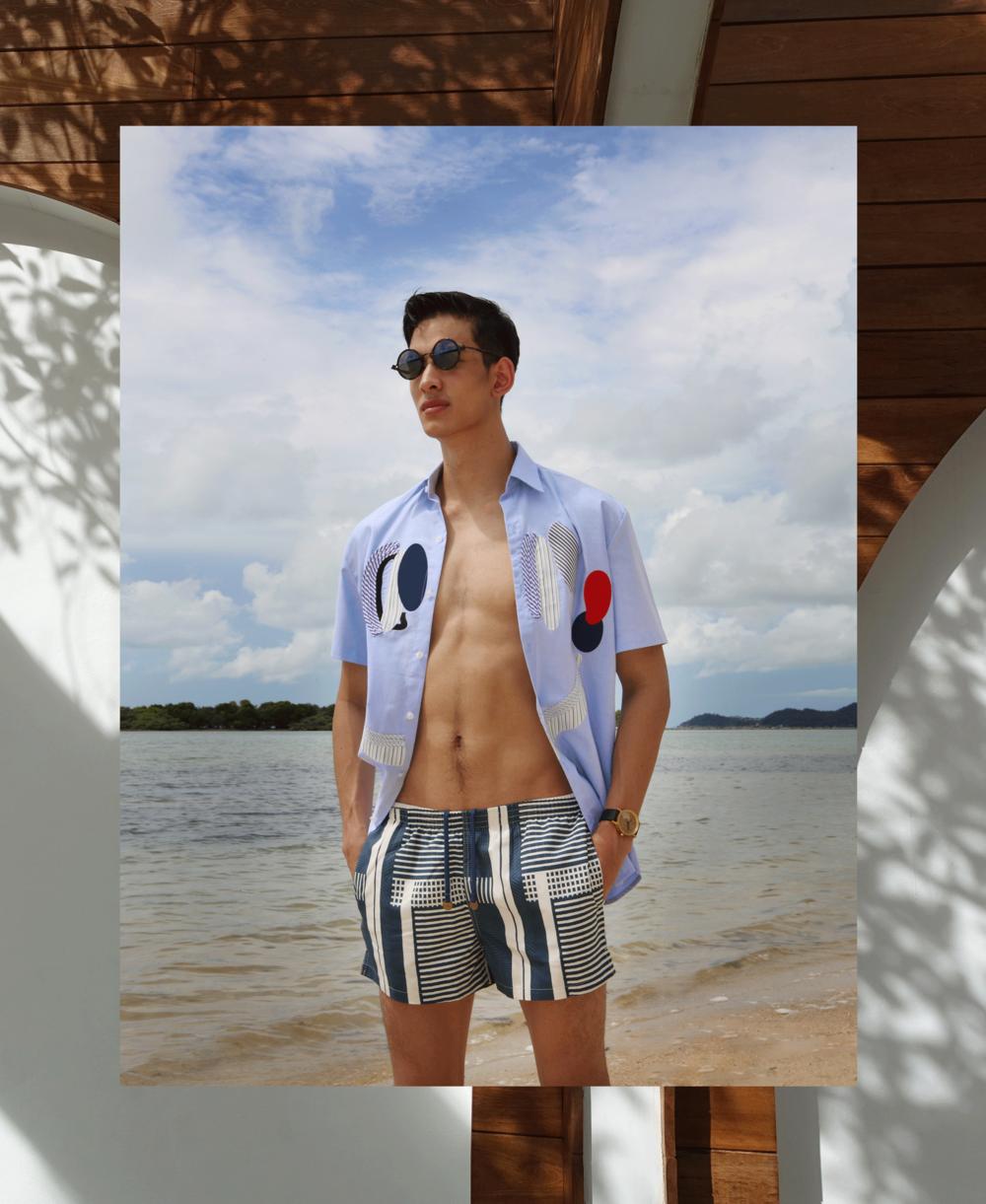 shirt : Everyday Kmkm / trunks : TIMO / watch : FORREST / sunglasses : TAVAT