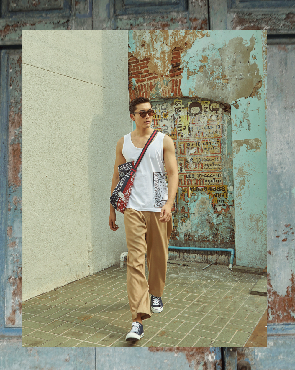 clothes and bag : PAINKILLER / sunglasses : Blake Kuwahara