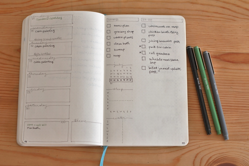 bullet journal weekly spread | seekthewelfare