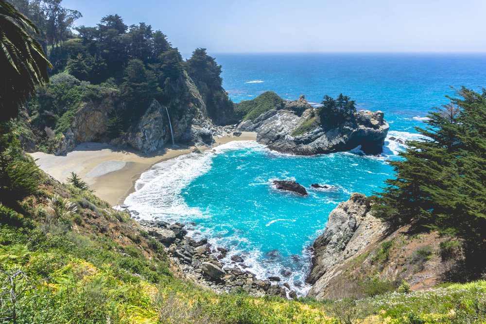 McWay Falls is one of two in the region that fall directly into the ocean (during hightide), the other being  Alamere Falls .