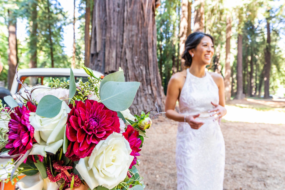 A happy bride getting married at The Brambles in Philo, Anderson Valley, California