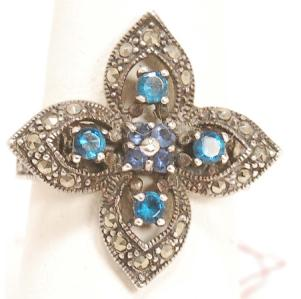 New Ring Size 7-1/4. Sterling, sapphire, & marcasite (top view)