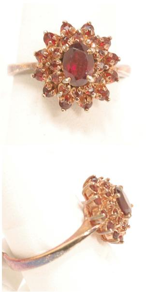New Ring Size 8-3/4. Garnets set in gold plated sterling