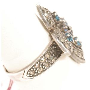 New Ring Size 7-1/4. Sterling, sapphire, & marcasite (side view)
