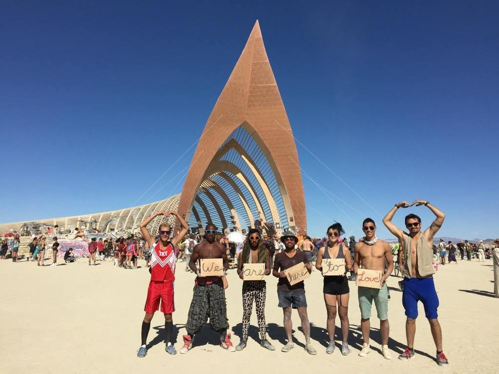 """We are here to love"" - With a few of my burning man camp mates at the Temple in 2015."