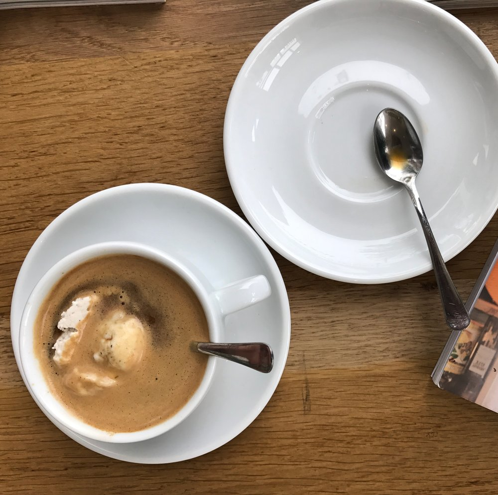 Vegan Affogato for breakfast after out 24 hr yoga marathon