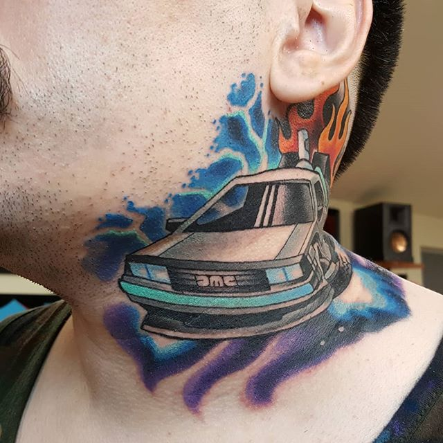 Did this back to the future delorean yesterday. It's pretty swollen and puffy here. I'll try to get some healed pics next time I see it.