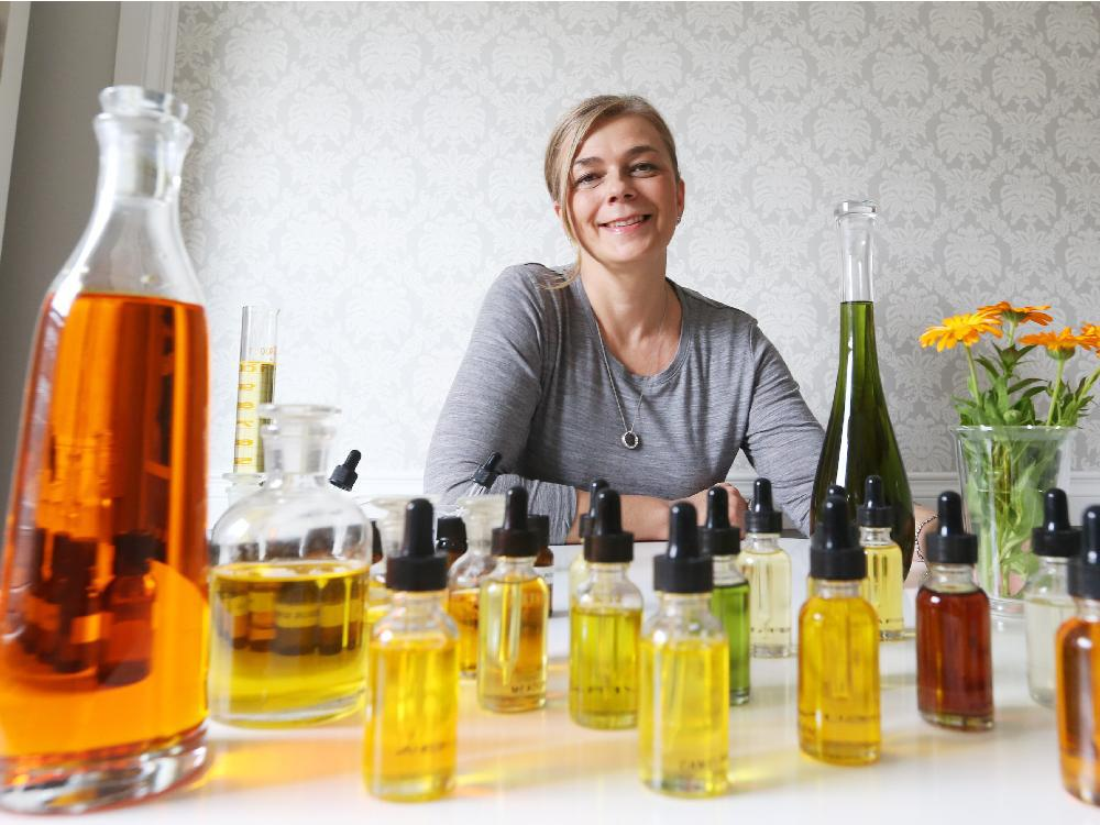 Magdalena Tomczak, owner of Woman Divine, makes her own skincare line depending on the person's skin type.  Jean Levac / Ottawa Citizen
