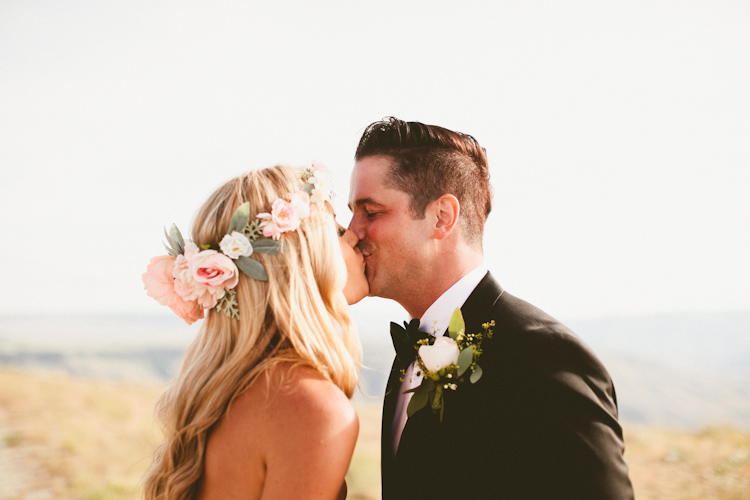 LSP Bride, Brittany wearing the Everly Floral Crown on her wedding day! Photo by Andria Lindquist