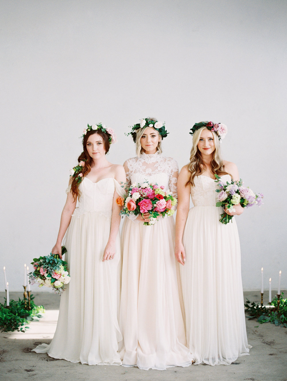 flower crowns bride bridesmaids