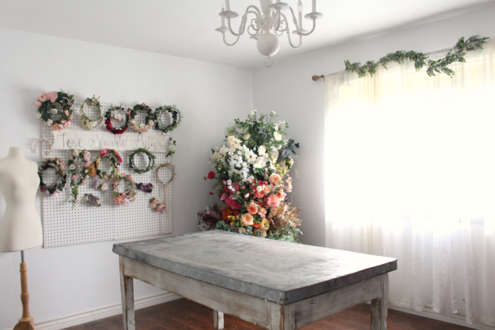 pretty office design studio flower crowns